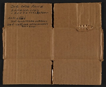 thumbnail image for Section of cardboard box with price code key for Winslow Homer paintings