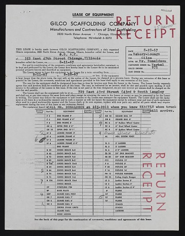 thumbnail image for Lease documents for scaffolding equipment used to work on the <em>Wall of Respect</em>