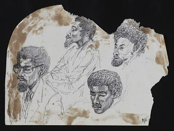 thumbnail image for Ink sketch of AfriCOBRA members at the CONFABA Conference, Evanston, IL