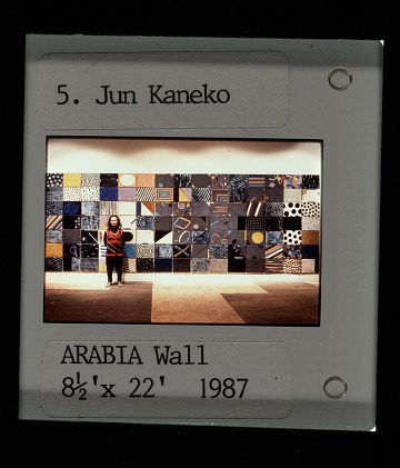thumbnail image for Jun Kaneko standing with <em>Arabia Wall</em>