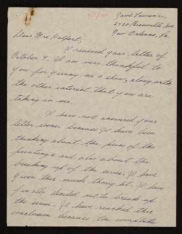 thumbnail image for Jacob Lawrence, New Orleans, Louisiana letter to Edith Gregor Halpert, New York, New York
