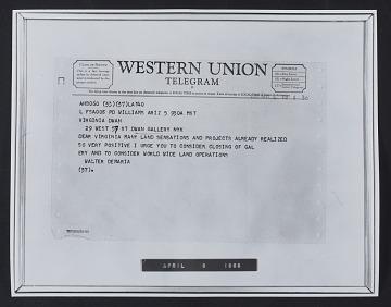 thumbnail image for Reproduction of Walter De Maria telegram to Virginia Dwan