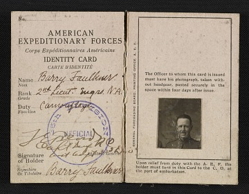 thumbnail image for Barry Faulkner's American Expeditionary Forces identity card