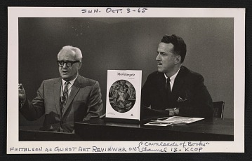 thumbnail image for Lorser Feitelson as a guest reviewer on the program <em>Cavalcade of books</em> for Channel 13 KCOP Los Angeles