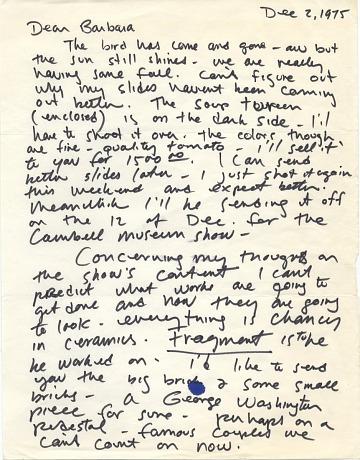 thumbnail image for Robert Arneson letter to Barbara Fendrick