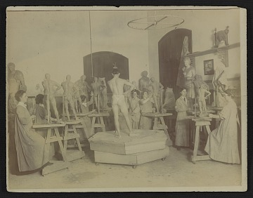 thumbnail image for Sculpture class, possibly at the Pennsylvania Academy of the Fine Arts