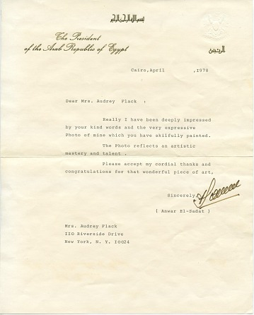 thumbnail image for Anwar Sadat, Cairo, Egypt letter to Audrey Flack, New York, N.Y.