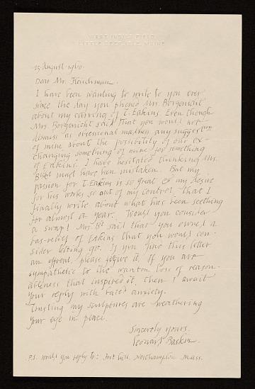 thumbnail image for Leonard Baskin letter to Lawrence Fleischman