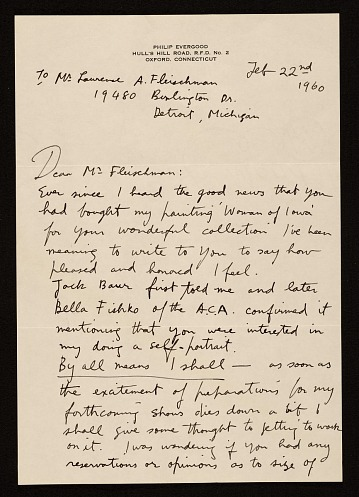 thumbnail image for Philip Evergood, Oxford, Connecticut letter to Lawrence Arthur Fleischman, Detroit, Mich.
