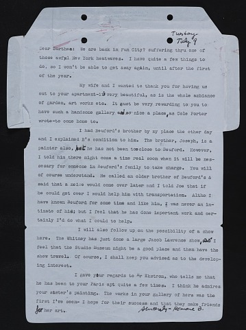 thumbnail image for Romare Bearden letter to Darthea Speyer