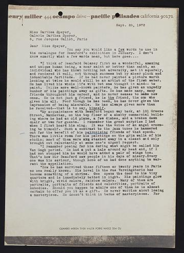 thumbnail image for Copy of Henry Miller letter to Darthea Speyer
