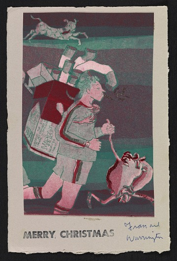thumbnail image for Warrington Colescott holiday card to Raymond Gloeckler