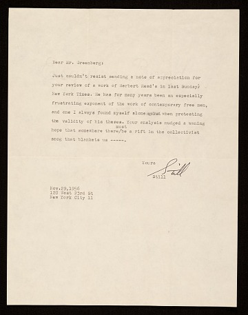 thumbnail image for Clyfford E. Still, letter to Clement Greenberg