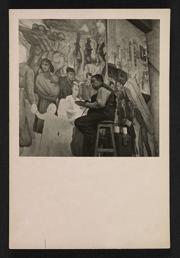 thumbnail image for Photograph of Diego Rivera working on the <em>Nightmare of War, Dream of Peace</em> fresco