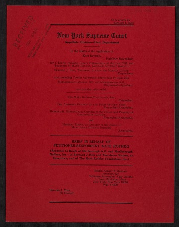 thumbnail image for Legal records relating to the Estate of Mark Rothko, 1957-1986