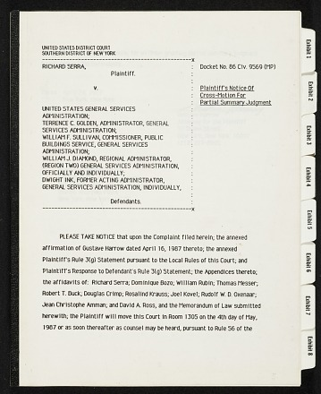 thumbnail image for Richard Serra v. United States General Services Administration et al. legal files