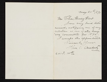thumbnail image for Thomas Pollock Anshutz letter to Charles Henry Hart