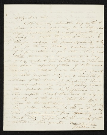 thumbnail image for Thomas Doughty, Boston, Mass. letter to Asher Brown Durand, New York, N.Y.