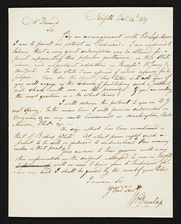 thumbnail image for William Dunlap, Norfolk, Va. letter to Asher Brown Durand, New York, N.Y.