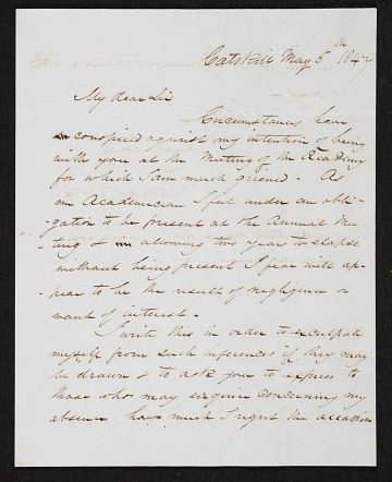thumbnail image for Thomas Cole, Catskill, N.Y. letter to Asher Brown Durand, New York, N.Y.