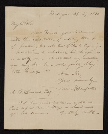 thumbnail image for William Danforth, Kensington, England letter to Asher Brown Durand, New York, N.Y.