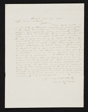 thumbnail image for Jervis McEntee, Rondout, N.Y. letter to Asher Brown Durand