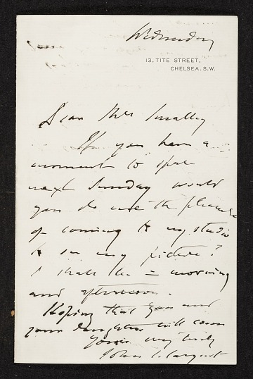 thumbnail image for John Singer Sargent, Westminster, U.K. letter to unidentified recipient