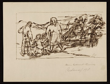 thumbnail image for Sketch of two adults and a child walking in the country