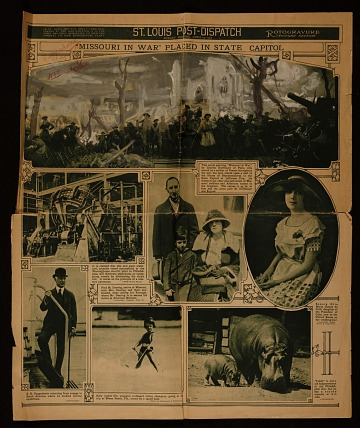 thumbnail image for 'Misisouri sic in war' sample, on the St. Louis Post-Dispatch headline announcement