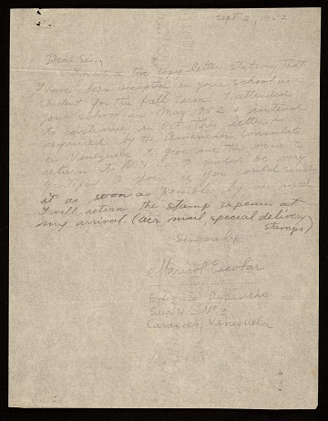 thumbnail image for Marisol letter to Hans Hofmann
