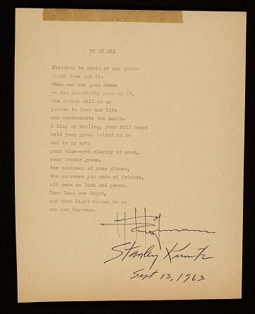 thumbnail image for Hans Hofmann poem, <em>To my miz</em>