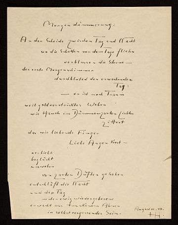 thumbnail image for Hans Hofmann poem <em>Morgendämmerung</em>