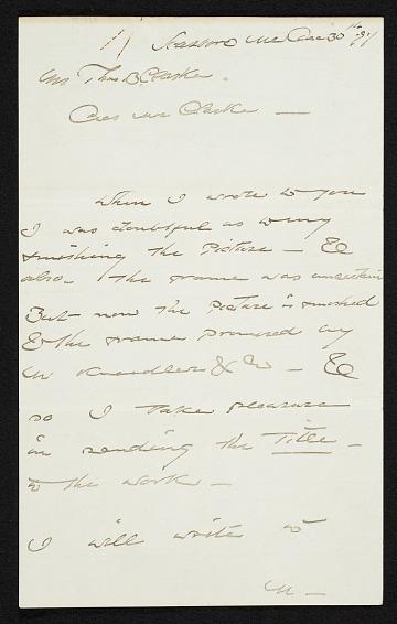 thumbnail image for Winslow Homer to Thomas B. (Thomas Benedict) Clarke