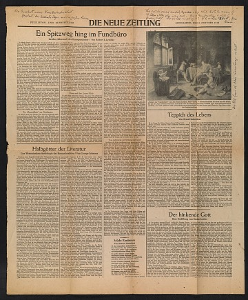 thumbnail image for One page from newspaper <em>Die neue Zeitung</em>