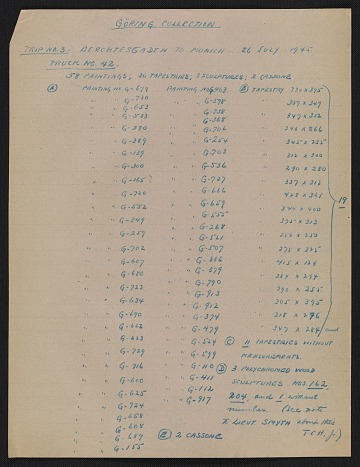 thumbnail image for Inventory list of looted art from the Göring Collection found at Berchtesgaden