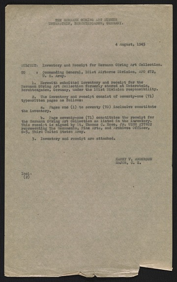 thumbnail image for Harry V. Anderson inventory and receipt for Hermann Göring art collection submitted to Commanding General, 101st Airborne Division