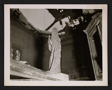 thumbnail image for Statue of the Virgin Mary inside La Gleize Church in Belgium, after the Battle of the Bulge