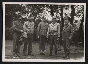 thumbnail image for Walker Hancock, Lamont Moore, George Stout and two unidentified soldiers in Marburg, Germany