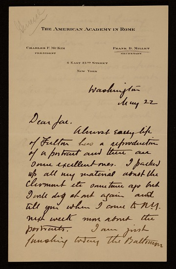 thumbnail image for Francis Davis Millet, Washington, D.C. letter to Augusto Floriano Jaccaci