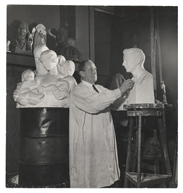 thumbnail image for Charles Keck working on a sculpture