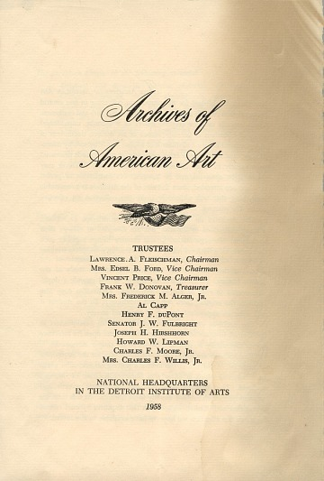 thumbnail image for Archives of American Art brochure