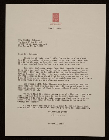 thumbnail image for Rockwell Kent, Ausable Forks, N.Y. letter to Butler Coleman, New York, N.Y.