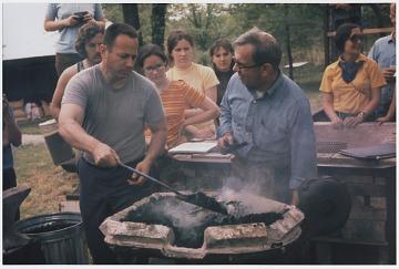 thumbnail image for Fred Fenster and Alex Bealer at a blacksmithing workshop