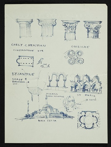 thumbnail image for Eero Saarinen sketches depicting the history of architecture