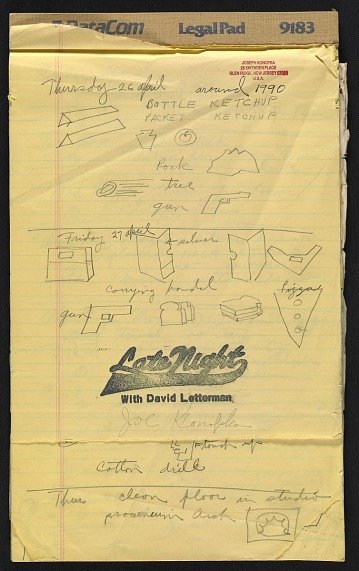 thumbnail image for Joseph Konopka work diary for the <em>Late Night with David Letterman</em> show