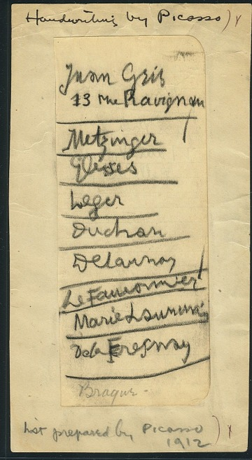thumbnail image for List written by Pablo Picasso of European artists to be included in the 1913 Armory Show