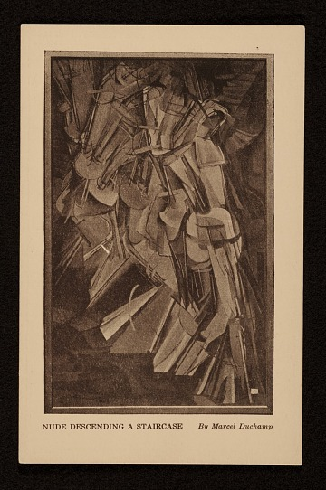 thumbnail image for Armory Show postcard with reproduction of Marcel Duchamp's painting <em>Nude Descending a Staircase</em>