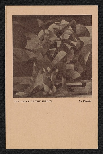 thumbnail image for Armory Show postcard with reproduction of Francis Picabia's painting <em>The dance at the spring</em>