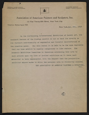 thumbnail image for Association of American Painters and Sculptors statement on the Armory Show