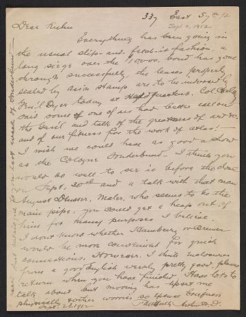 thumbnail image for Arthur B. Davies letter to Walt Kuhn